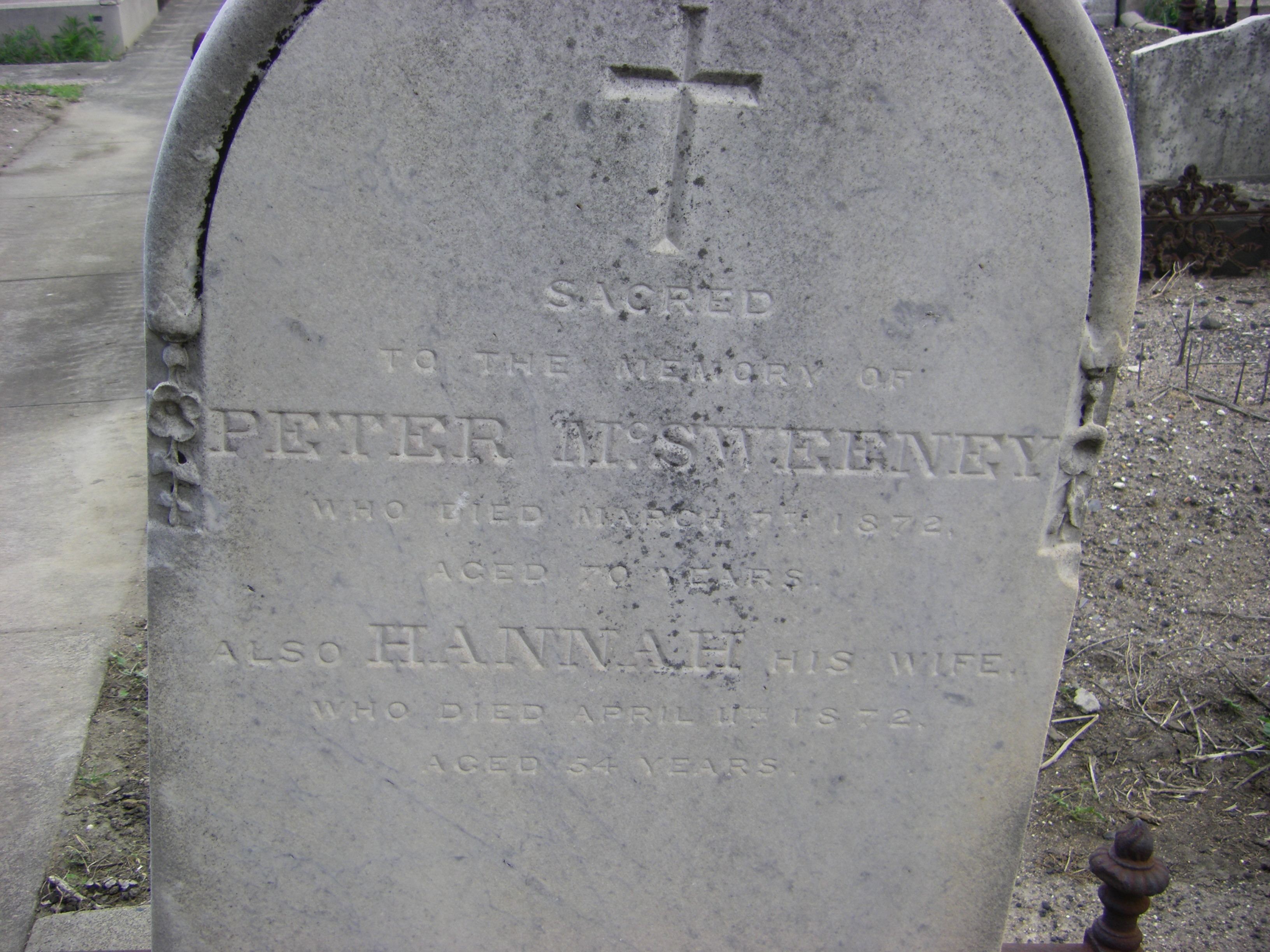Peter & Hannah McSweeney 1872 Melb Gen Cem.