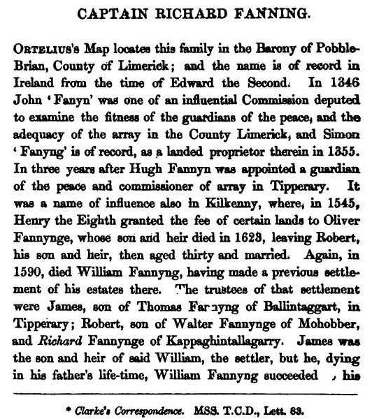 Richard Fanning captain King James's Irish Army List 1689 Vol1cr