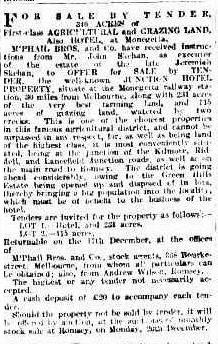 Sale Notice of Junction Hotel Argus 1909