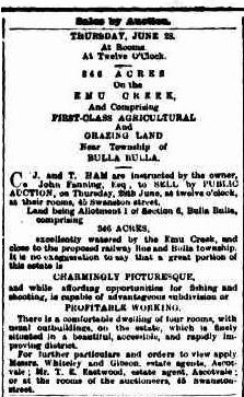 Sale of Emu Creek Land 1888
