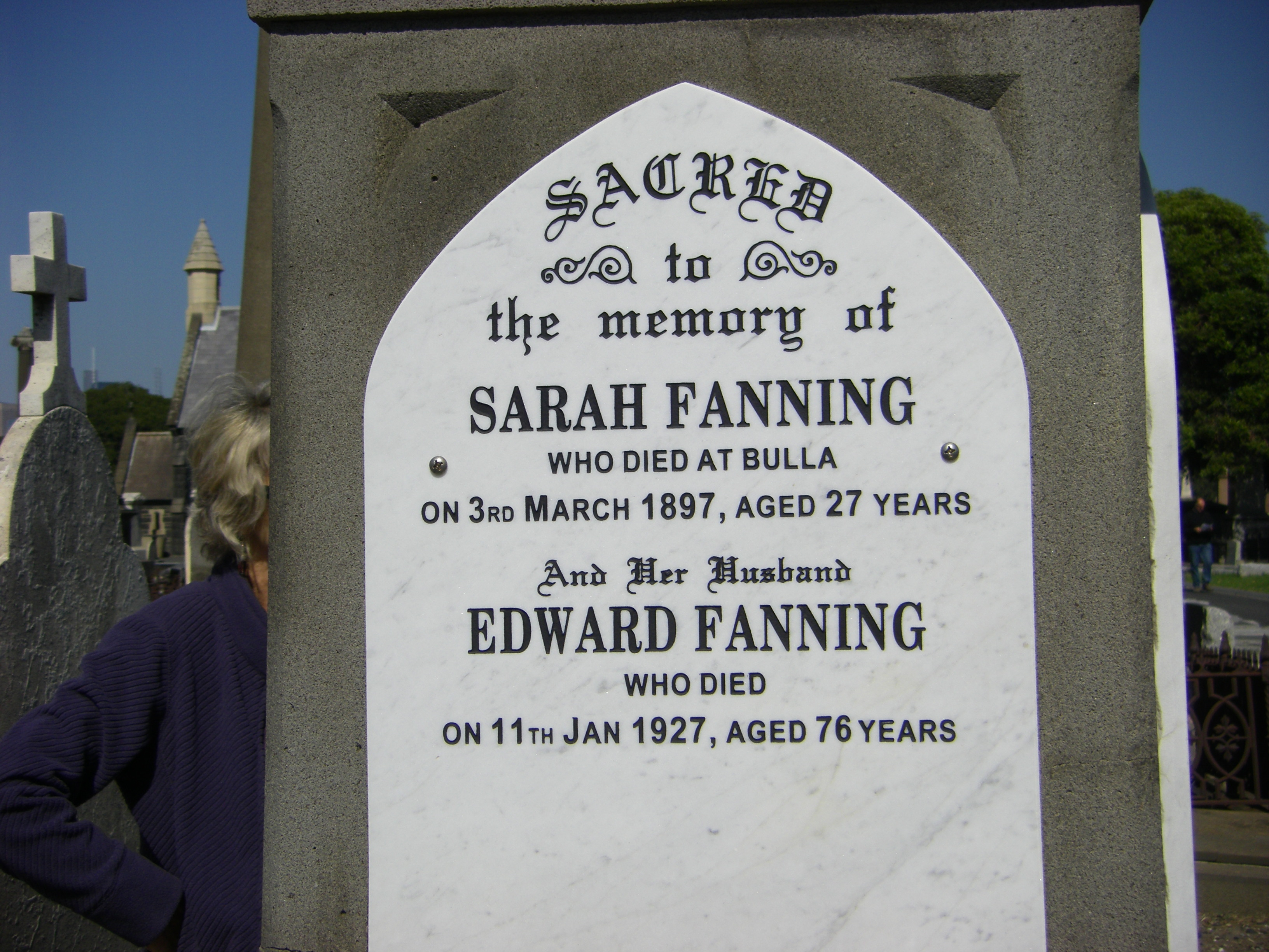 Sarah & Edward Fanning Melbourne Cemetery