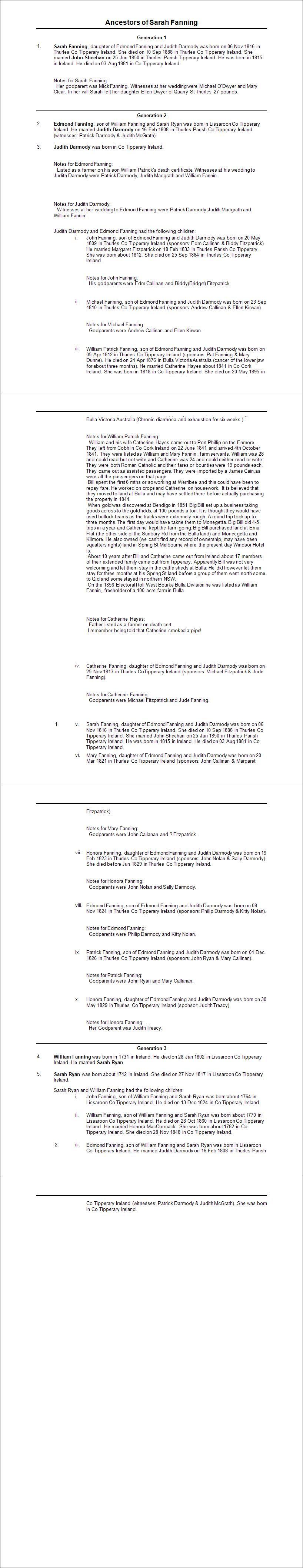 Sarah Sheehan nee Fanning Ancestor Report 2015