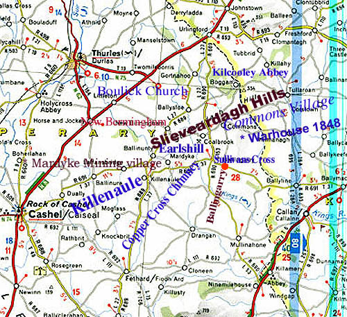 Maps Of Co Tipperary Ireland Showing Ballingarry And Thurles Areas