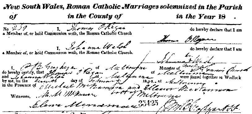 Thomas Dobbins O'Regan and Johanna Walsh Marriage 1842_croppedagain
