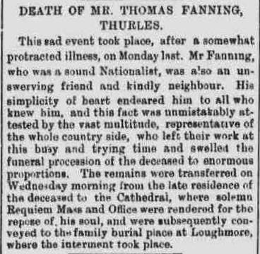 Thomas Fanning Obit Freemans Journal 17 Sept 1897 cr