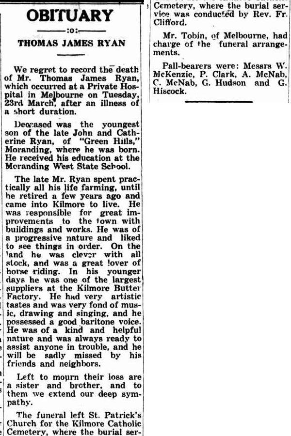 Thomas James Ryan Obit Kilmore Free Press 1 April 1943
