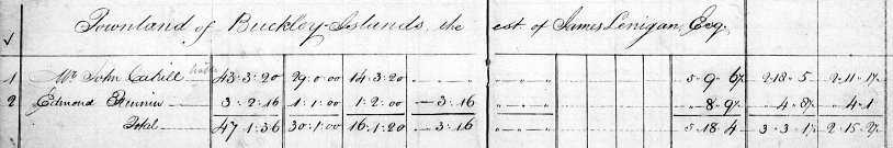 Tithe Applotment Book Entry for Edmond Fannin of Buckley Islands Inch CParish