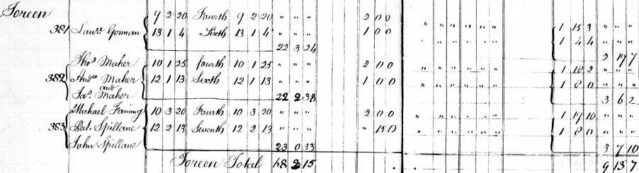 Michael Fanning of Toreen Thurles Tithe Applotment Book 1833