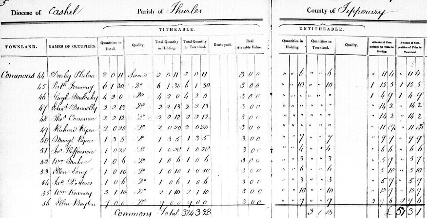 Tithe Applotment Book Entry for Patrick Fanning of Commons Townland Thurles Parish Co Tipperary North 1833