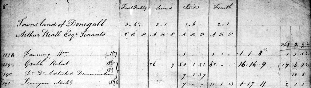 William Fanning of Donegall Townland Knockgraffon Parish Co Tipperary South in the Tithe Applotment Book 1825