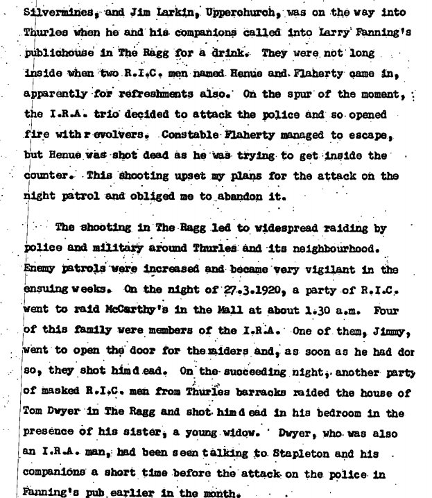 Tom Dwyer James Leahy's Account Military Records p2
