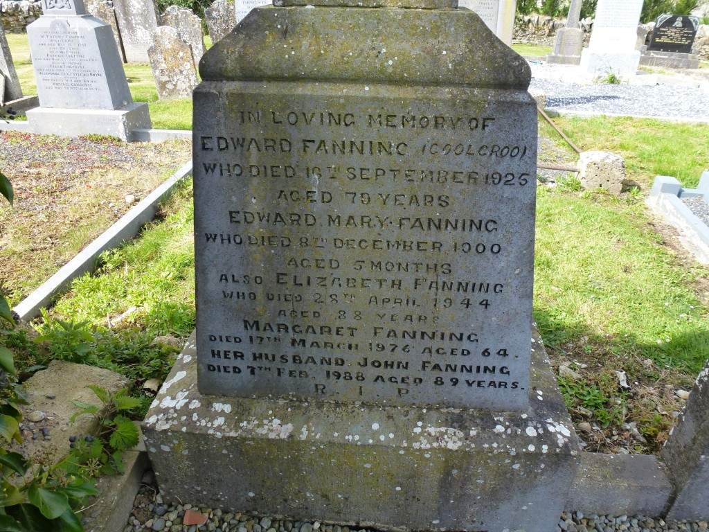 Twomileborris Cemetery Fannings of Coolcroo next to Edmond fanning of Grawne Tombstone
