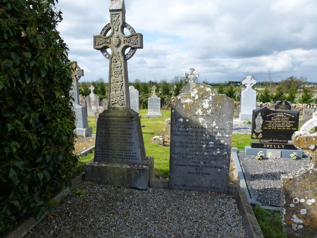 Twomileborris Cemetery on right is Edmond Fanning of Grawne on left is Fannings of Coolcroo