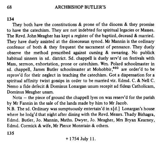 Visitation Book of James Butler Land for Ballingarry Chaopel Mr Fannin 1754