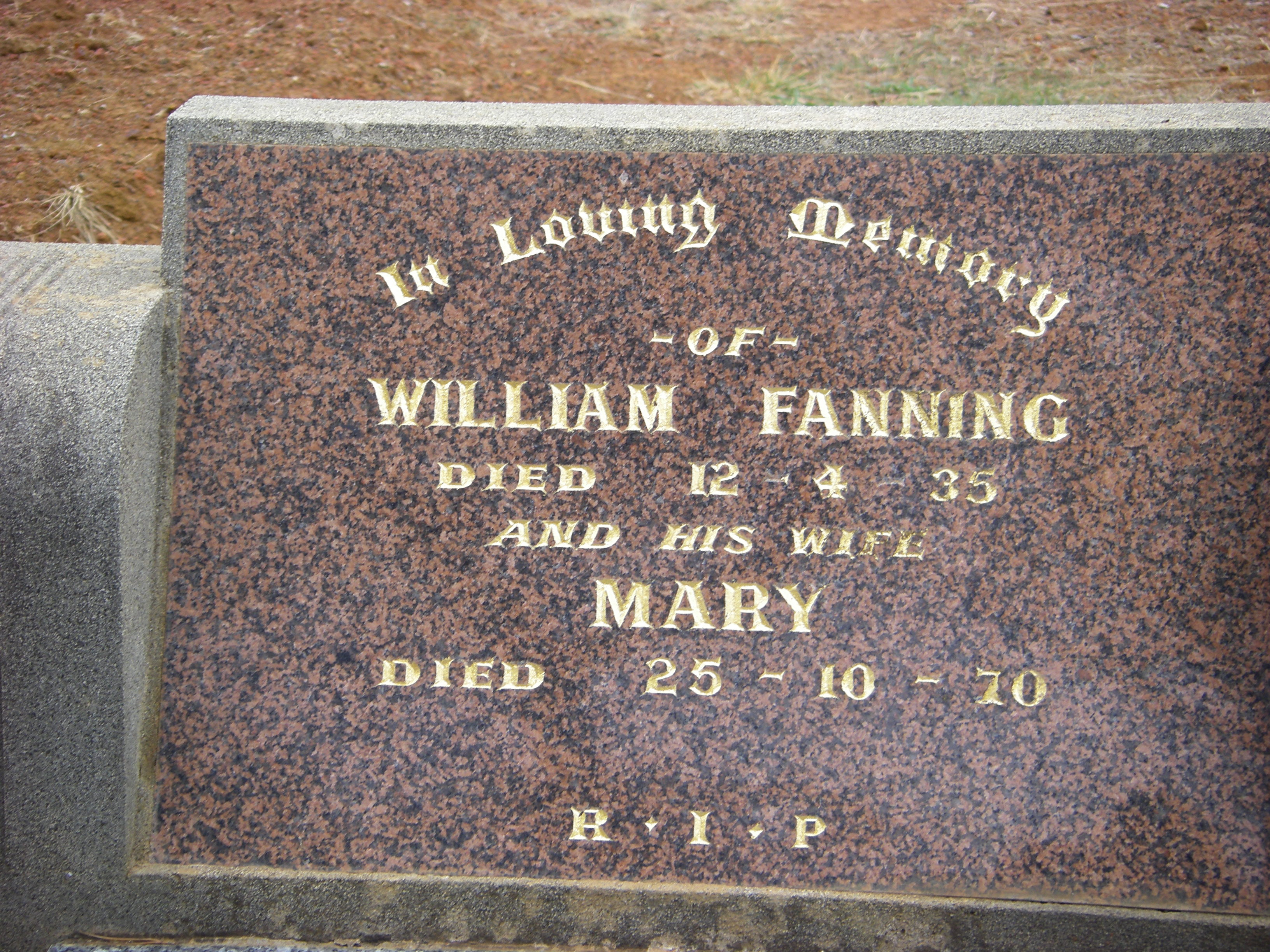William Fanning 1935 & Mary (Daisy) Fanning 1970 Bulla Cem.