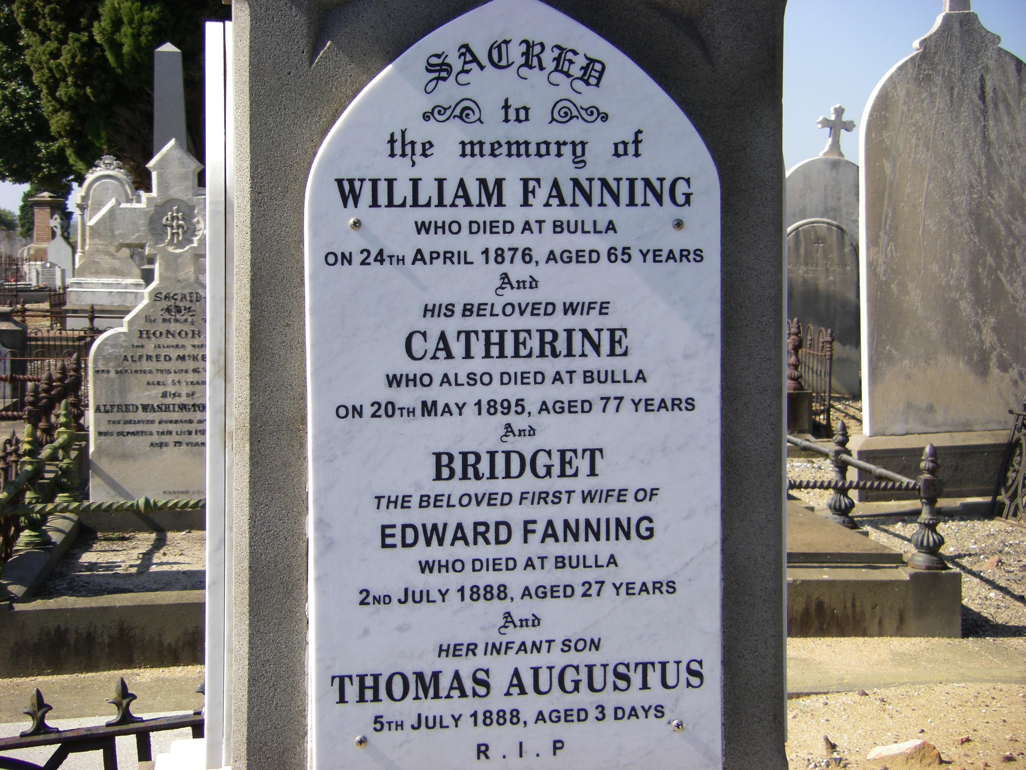 Gravestone of Bridget Fanning nee Collins Melbourne Cemetery
