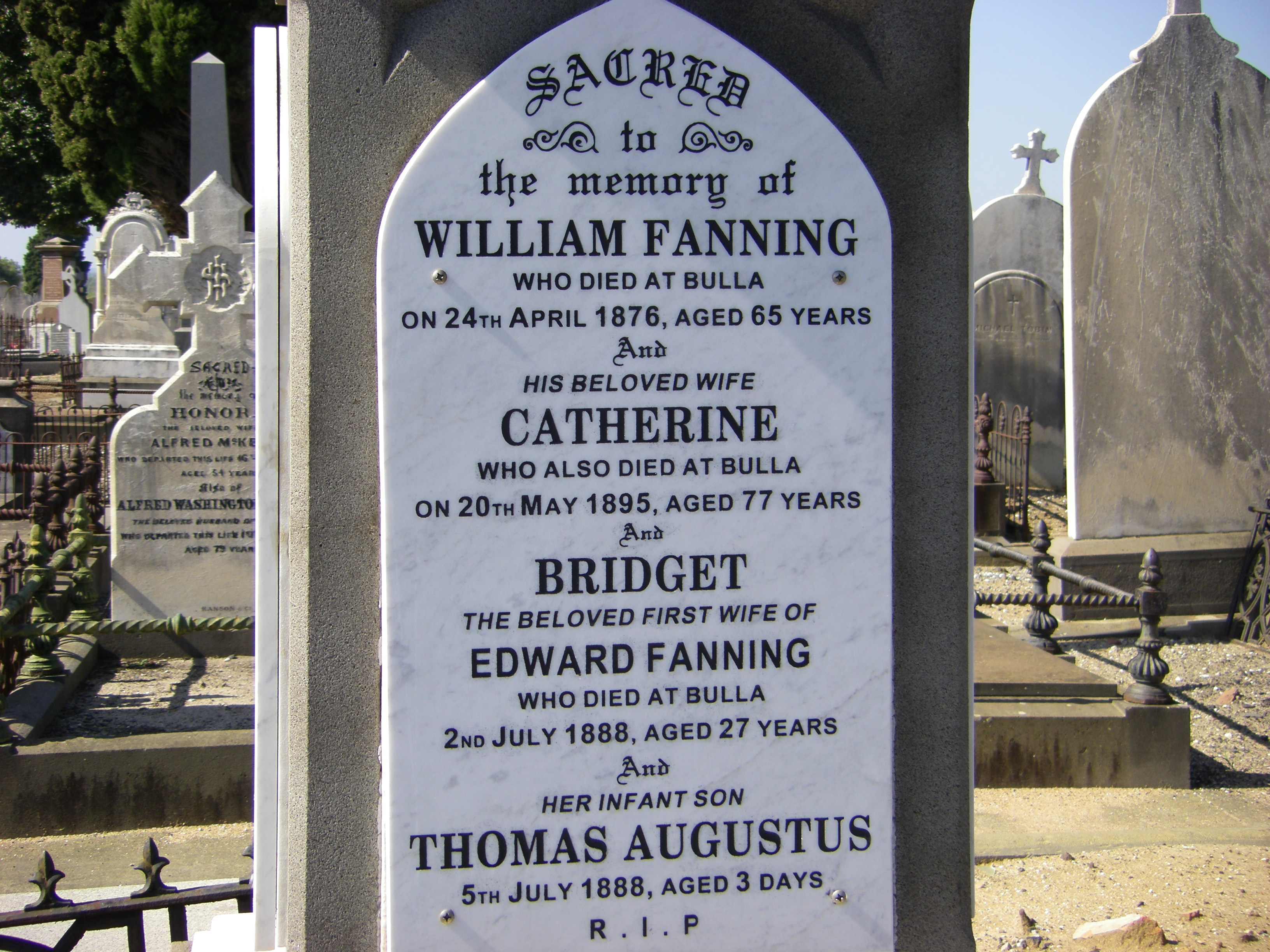 William Fanning & Catherine Hayes Grave Melbourne Cemetery