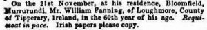 William Fanning Death notice Murrurundi 14 Dec 1861 Freeman's Journalcr2