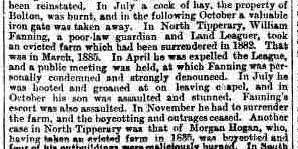 William Fanning Landgrabbing Incident Morning Post London 1 Feb 1889 cr2
