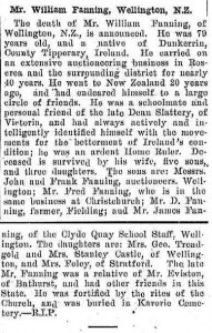 William Fanning Wellington NZ Obituary 1907