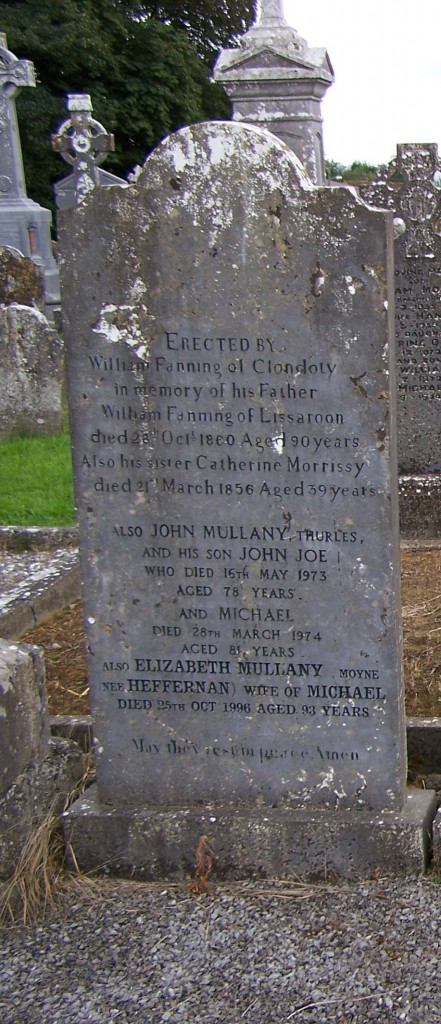 William Fanning of Lisaroon died 1860 Ballycahill Cemetery Co Tipperary