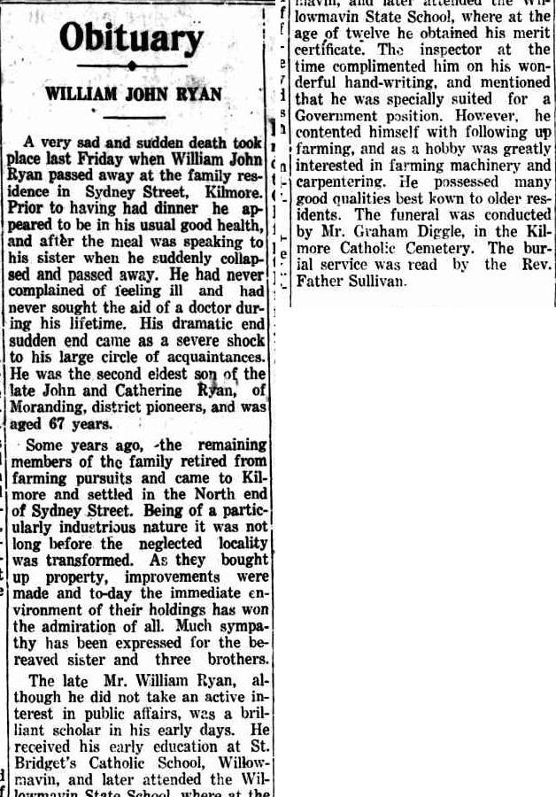 William John Ryan Obit Kilmore Free press 3 Mar 1928